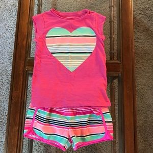 Carter's Matching Sets - Carter's Top and shorts outfit pink stripe size 6